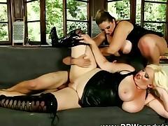 Dominant fat BBWs flagellating submissive