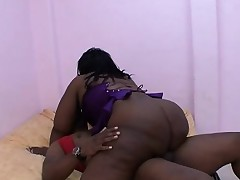 Hung black stud Rock pounds Ms Cleo's tight dark-hued pussy on the bed