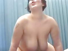 Fat woman fucks with a chap