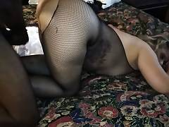 Nylon covered kelly candy playing with thick faux-cock