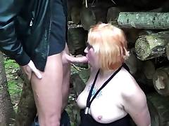 German Redhead MILF Fuck with Youthfull Boy Outdoor after School